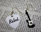Vintage Rebel Rocker Earrings - One guitar pick, one guitar