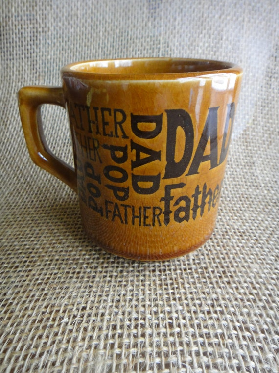 "Vintage ""Dad""  ""Father"" ""Pop"" Mug - retro kitsch tan with brown lettering"