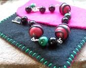 Polymer Clay, Gemstone Bracelet, Black Onyx, Malachite