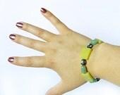 "Gemstone Bracelet Set, Matching Earrings, Green Aventurine, New ""Jade"" Serpentine, Polymer Clay"