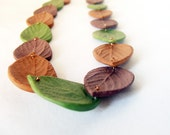 Layered Leaf Necklace - Polymer Clay, Chocolate, Moss and Caramel - mcclouddesigns
