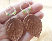 Leaf Earrings, Caramel, Polymer Clay, Sterling Silver and Czech Glass