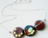 Abstract Circle Necklace, Sterling Silver, Polymer Clay, reversible