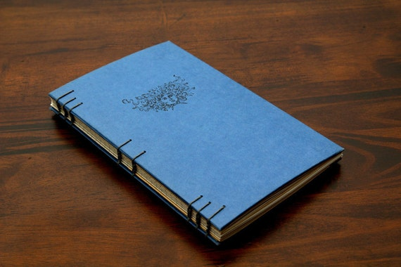 Handmade Coptic Stitch Recycled Vintage Blue Journal