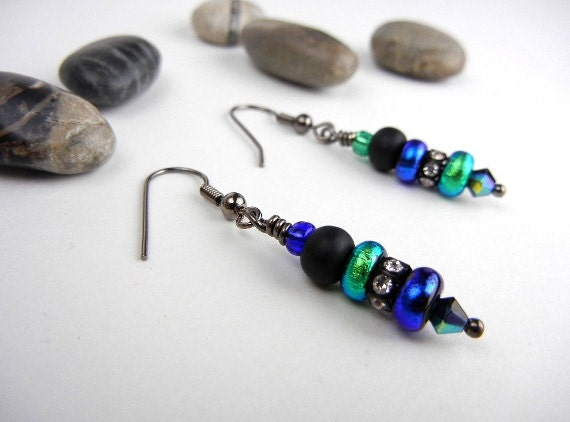 Diachroic glass earrings blue and green small donuts, Swarovski rhinestone rondelles with black matt glass beads earrings