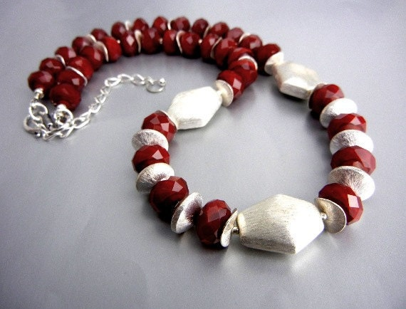Dark red sparkly crystal bead necklace with brushed silver accents // handmade jewelry // holiday necklace // Christmas gift