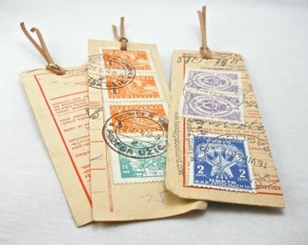 gift set of 8 vintage postal stamp bookmarks for your book club, Yugoslavia 1947, original handwriting and postmarks