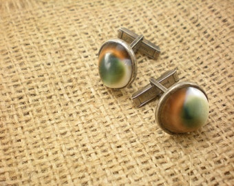 CLEARANCE: 50% off handsome vintage cat eye cuff links, sterling silver setting, classic accessory for men and tailored ladies