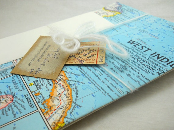stationery gift set: vintage map of the West Indies, 1962