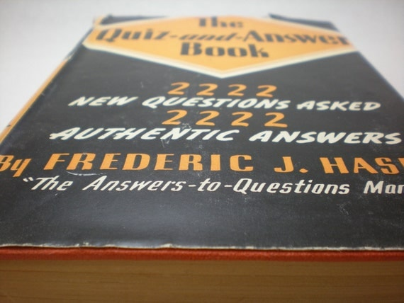 vintage book from 1938: The Quiz and Answer Book