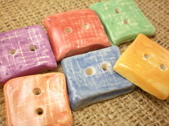 rainbow colored set of 6 ceramic buttons for DIYers, tailors and seamstresses; embellish your favorite sweater or pillow