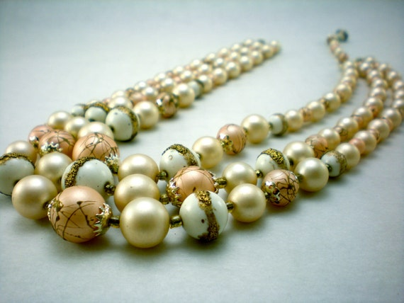 glittery triple strand of pearly beads, vintage necklace, holiday jewelry