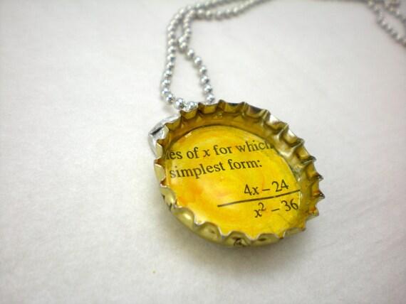 geeky bottle cap pendant, algebra equation, pop top bail on ball chain
