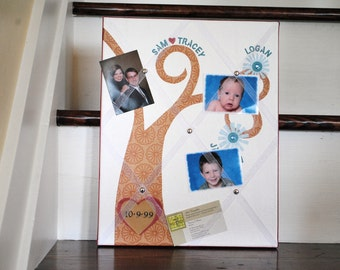 Memory Board Nuclear Family Tree Custom Made and Personalized 11X14 inch Organizer