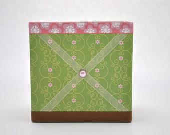 Green and Pink Decorative Box with Memory Board Ribbon