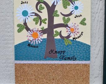 Custom Family Tree 11X14 inch Cork Board