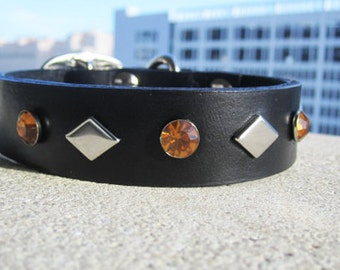 "Leather Dog Collar 17-20"" Large"