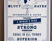 Lucy Hayes First Ladies Letterpress Print