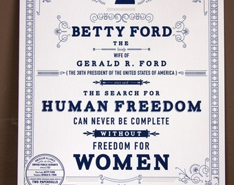 Betty Ford First Lady Letterpress Print