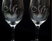 Etched Mr. and Mrs. Wine Glasses