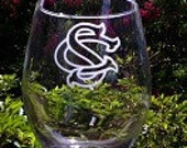 South Carolina Gamecocks National Champions etched wine glass