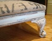 Antique FRENCH Footstool Burlap Grain Sack
