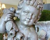 Vintage Cement Cherub Statue Old Shabby Large