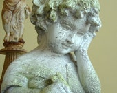 Little Girl Reading Bust Statue