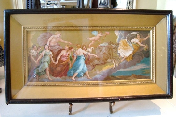 SALE--Vintage Italian Florentine Art The Aurora by Guido Reni--SALE