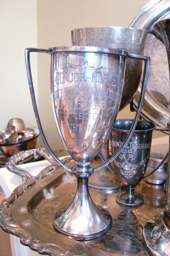 Vintage 1930 Spelling Trophy Cup Silverplate