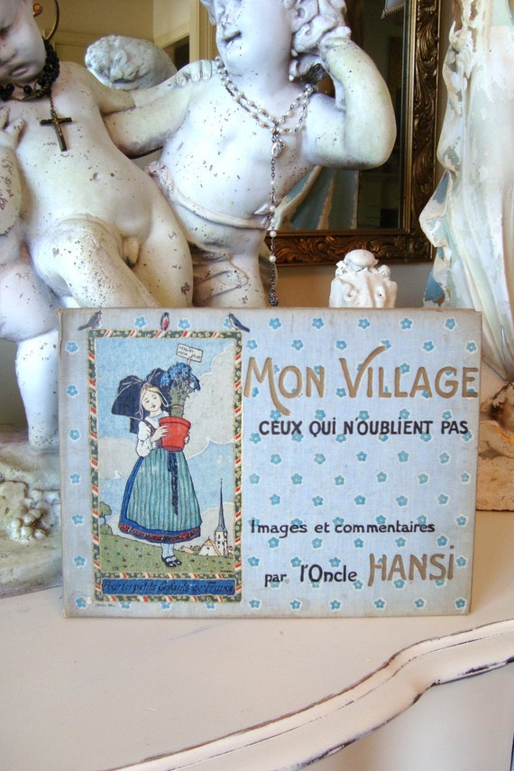 "HOLD for marinope:  Rare Antique ""Mon Village"" French Children's Book 1900's"