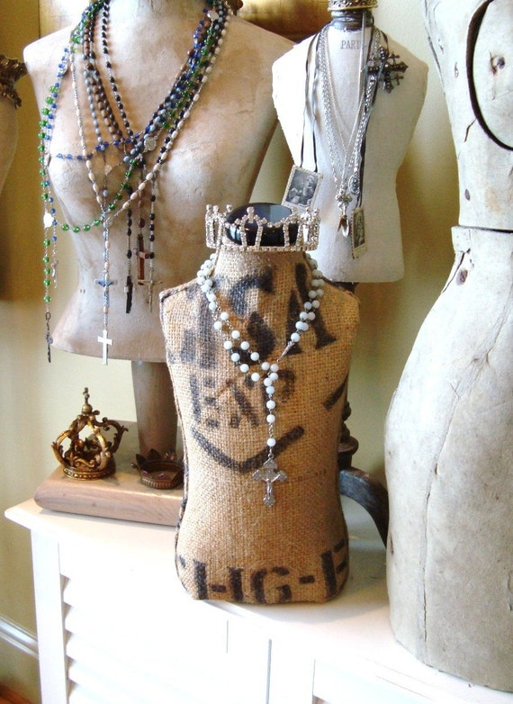 RESERVE for HeatherBrady:  Burlap Covered Mannequin Vintage Style