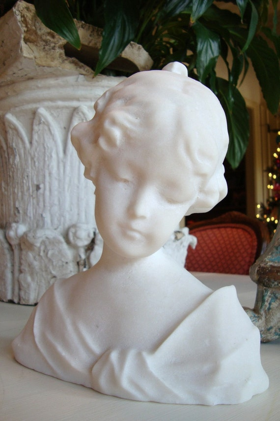 Vintage Alabaster French Bust Little Girl