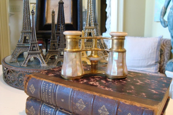 Antique PARIS Opera Glasses French Lemaire Mother of Pearl Brass