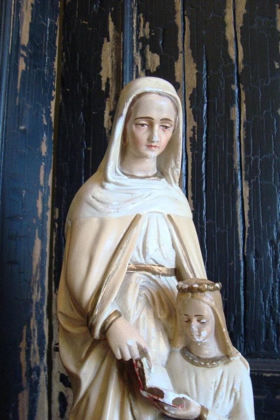 "SALE--Vintage Saint Anne Virgin Mary Chalkware Statue Large 22.5"""