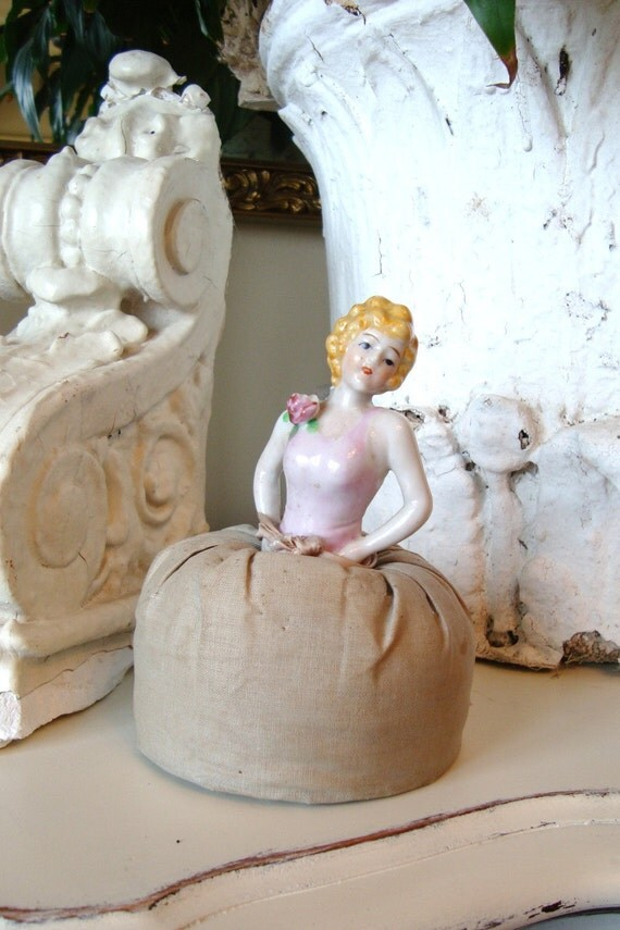 SALE--Vintage Half Doll Pin Cushion Porcelain Victorian
