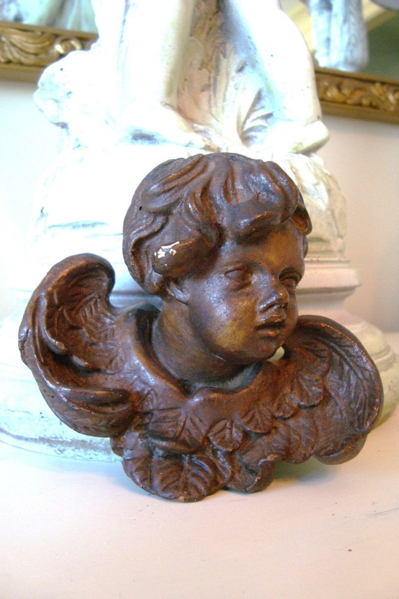 Antique Carved Wood Cherub Putti Germany 1900s