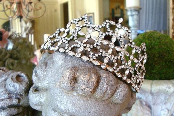 Vintage 1950s Tiara Crown Pageant Rhinestone