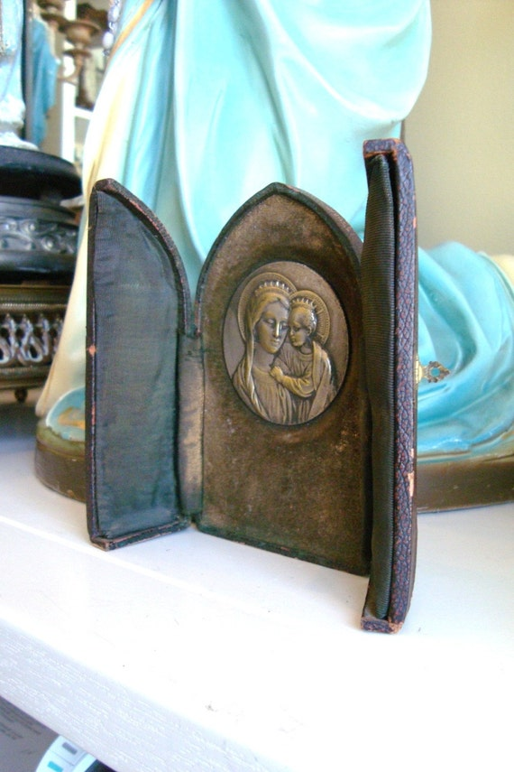 French Nuns Travelling Shrine Icon Convent Antique