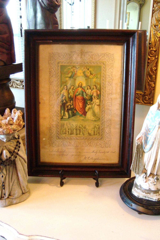 Antique1890 Holy Communion Certificate Framed Religious Art