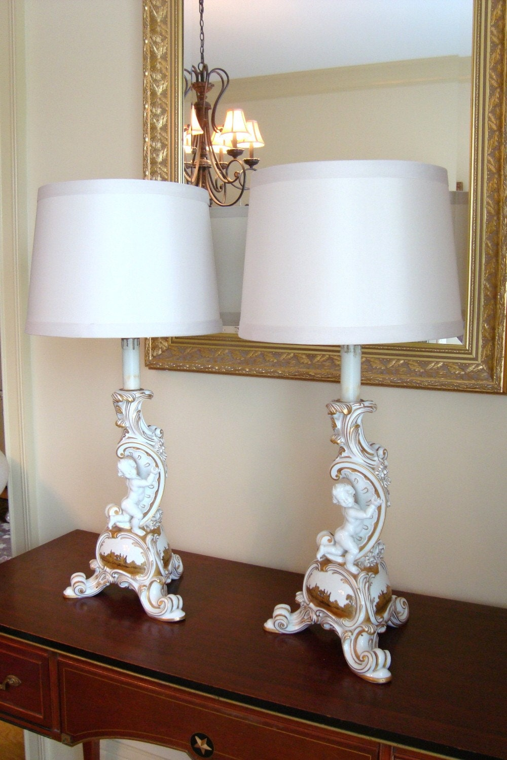 Antique German Cherub Lamps Porcelain Rosenthal Selb Bavarian
