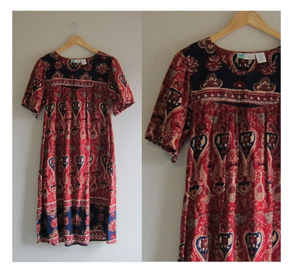 Hippie Ethnic Print Cotton Dress with Pockets