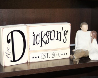 Last Name established Blocks- personalize for free, great for gift giving - With Vinyl Lettering