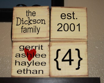 Set of 4 last Name Family Blocks -personalize for free - with vinyl lettering home decor family