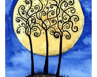 Tracery in Winter - winter trees and the moon - A4 print