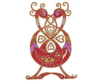 Celtic Love Birds A4 print & handmade book full of love