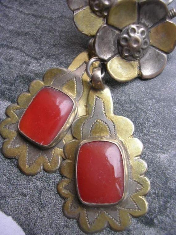 VINTAGE TURKOMAN turkmen silver earring