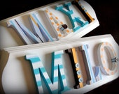 fully customized twin name plaques--  wooden letter signs to coordinate with any bedding/decor -- Made-to-order