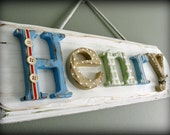 5 letter limited edition custom name plaque - Shabby chic distressed boys sign  - Made to order