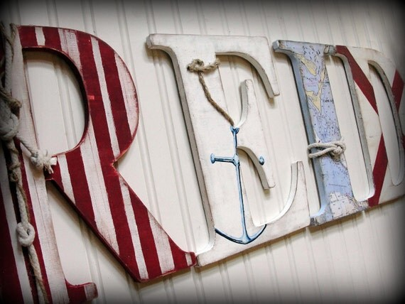 SCOTT rsrv.  Individual hanging shabby chic nautical wall letters - made to order - variety of sizes, fonts and styles available